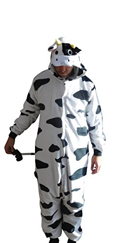 Flannel Kostüm Kuh Damen Herren Kinder Karnevalskostüm Faschingskostüm Verkleidung Fleece Overall Erwachsene Größe ()