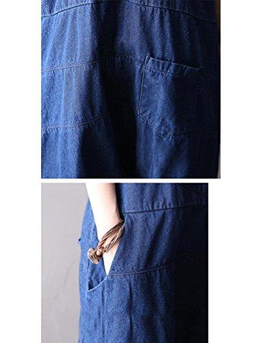 MatchLife Femmes Casual Jeans Salopette Pantalon Style3 Bleu