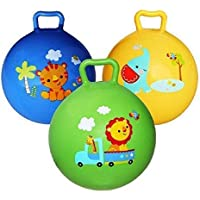 AMANNA Inflatable Sit and Bounce Rubber Bubble Hop Ball for Kids. Hopper Jump N Bounce Handle Ride-on Toy Bouncy for Kids, Hopping/Bouncing/Jump Balls for Child (Multi-Color)