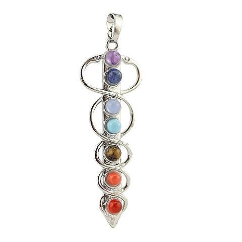 Healing Cyrstals 7 Beads Chakra Charm Stone Sword Pendant for
