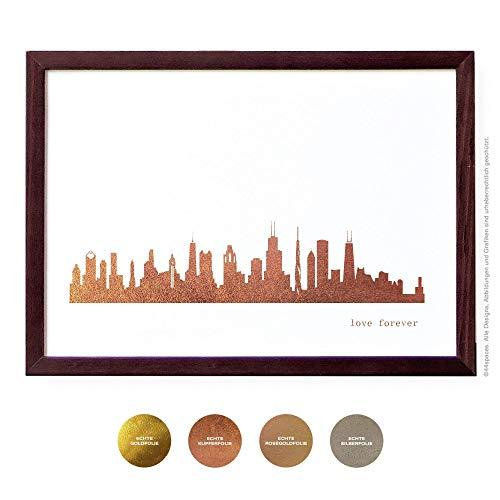 Chicago Design Poster, 4 Metallic Farben DIN A4 A3 - Chicago Design