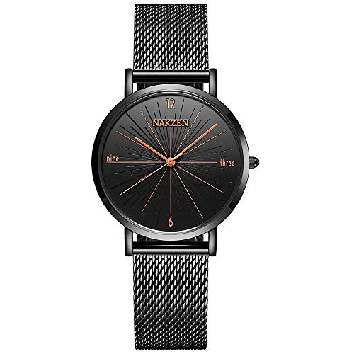 NAKZEN Kreative Mode Frauen Quarzuhr Wasserdicht Einfache Analoge Armbanduhr mit Edelstahlband Damen Kleid Uhren - Schwarz