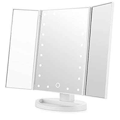 Easehold Tri-Fold Makeup Mirror with Lights, 21Pcs Led Lights Free Standing Cosmetic Vanity Lighted Table Mirror - inexpensive UK light store.