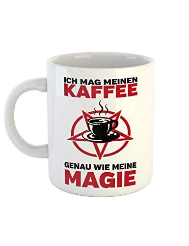 clothinx Kaffeetasse mit Aufdruck Ich Mag Meinen Kaffee Wie Meine Magie Schwarz