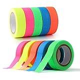 Povad Neon Tape Klebeband 10 Rolle, (15MM x 5M) pro Rolle, Schwarzlicht UV Fluoreszierendes Klebeband Tape Neon, 5 Farben, 2 Stück pro Farben