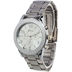 Familizo Unisex Stainless Steel Quartz Fold Over Band Wrist Watch Silver