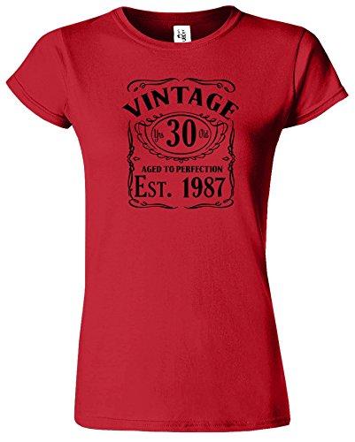 Vintage Est 1986 gealtert zur Perfektion Frauen-T-Shirt 30. Geburtstag Rot (Red) / Schwarz Design
