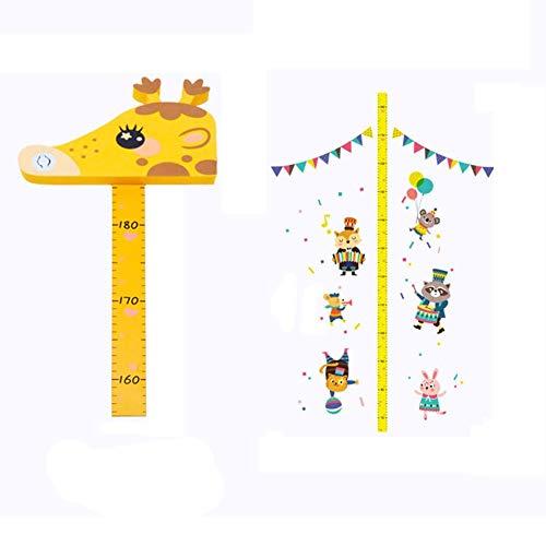 Bestlle Kind Höhenlehre Mess Wandaufkleber, 3D Stereo Baby Cartoon Hirschkopf Ornament Selbstklebende Papier Messlineal Gelb