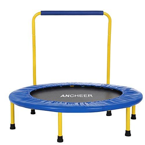 ANCHEER Trampolin Mini Kindertrampolin mit Haltegriff, Durchmesser ca. 91cm, Belastung bis 75kg (Blau)