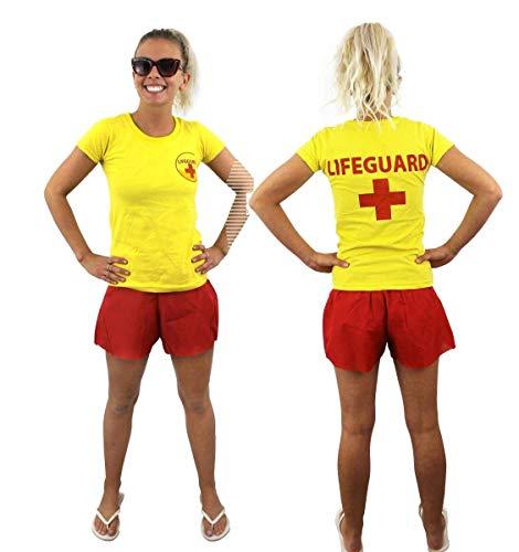 ILOVEFANCYDRESS Frauen LEBENRETTER KOSTÜM VERKLEIDUNG=ROTES Tshirt+ROTE Shorts =Sommer Pool Party ODER Strand=Fasching SEXY ()