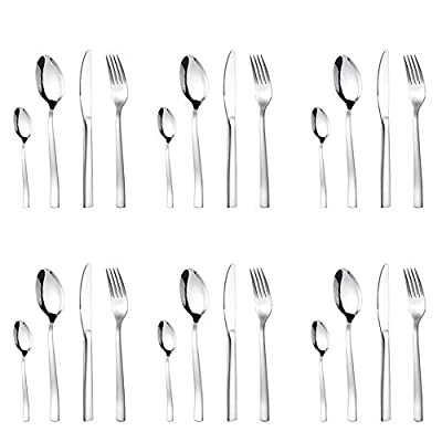 Neloodony Besteckset, 24 teilig, für 6 Personen, Monobloc-Messer, Edelstahl poliert, spülmaschinengeeignet