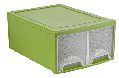 Rotho 1767305519 Schubladenbox Frontbox aus Kunststoff, Ablagefach mit 2 Schüben, Ablagebox für Schreibtisch, grün/transparent, 44.5 x 34.5 x 20 cm 2 Regal Kunststoff-regal