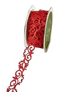 May Arts Ruban adhésif fleur de Lys Motif volutes 7/20,3cm x 10Yard, rouge, rouge