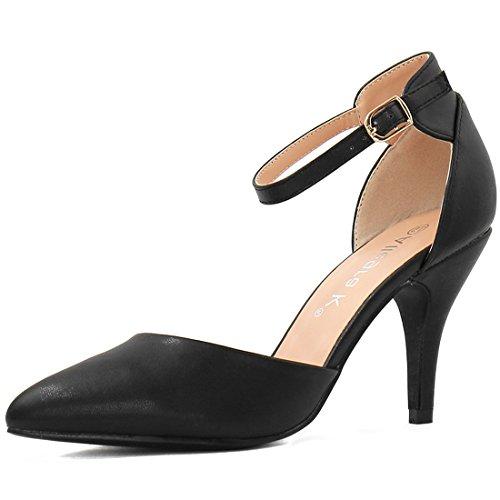 Allegra K Damen Spitzkopf-Schuhe Stöckelabsatz hohe Absätze Knöchel-Gurt Pumps, Schwarz/EU 37.5