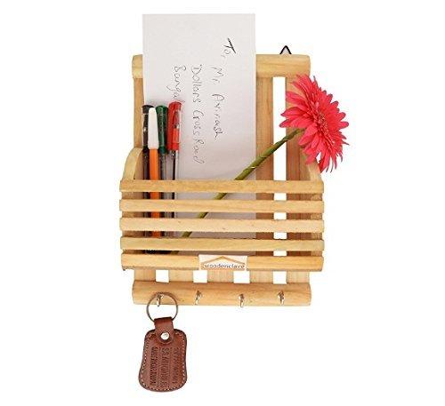 Lettera di legno cum portachiavi, Striscia di design con 5 gancio chiave