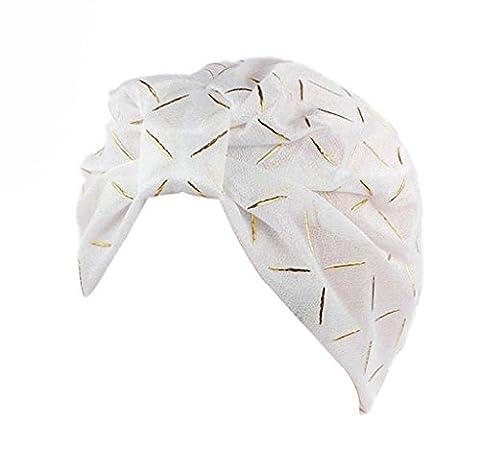 Elyseesen Women Silk Yarn Chemo Hat Beanie Scarf Turban Head Wrap Cap (Blanc)