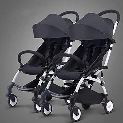 BABY CARRIAGE ZLMI Twin bebé Cochecito Ligero Plegable portátil Plegable Cesta BB Coche Puede Sentarse/reclinar de Dos vías Ajustable para 0-3 años de Edad,Black#1