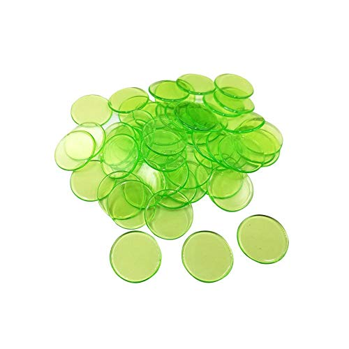 Seasons Shop 100 Stück Bingo Chips Zähler transparent Markierungszähler Kunststoff 19 mm zum Zählen oder Marken 4