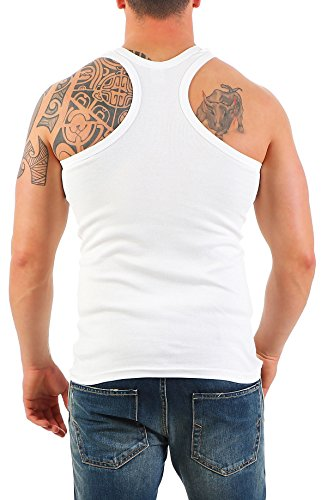 2er Pack Herren Tank Top Unterhemd Muskelshirt Ramboshirt Nr. 452 ( Weiß-Weiß / XL ) - 4