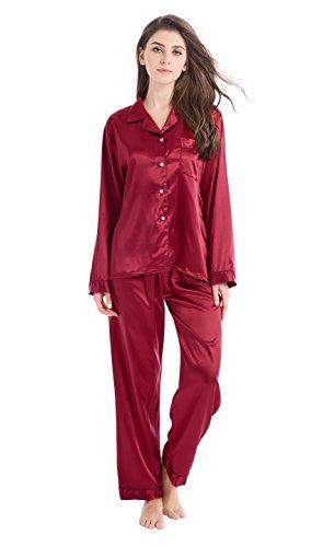 TONY & CANDICE Damen Schlafanzüge Lang Satin Lang Pyjama Set Nachtwäsche (Burgund mit Schwarzem Keder, M) (Satin Hosen Seide)