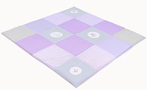 XXL Baby Krabbeldecke Spieldecke & Laufgittereinlage Patchworkdecke weich gepolstert und groß Mond Bär Lila (160 x 160 cm, Lila)