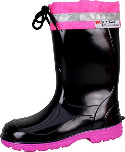 BOCKSTIEGEL® LINUS Enfants - Bottes en caoutchouc avec bandes réfléchissantes (Tailles: 22-35) Black/Fuchsia
