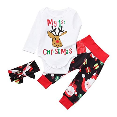 Jimmackey 3pcs Neonato Natale Completini, Pagliaccetto Renna Stampa Bambino Tutine Body + Santa Pantaloni + Fasce Costume