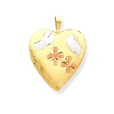 IceCarats 14k Yellow Gold Filled Tri Color 2 Frame Butterfly Flower Heart Locket