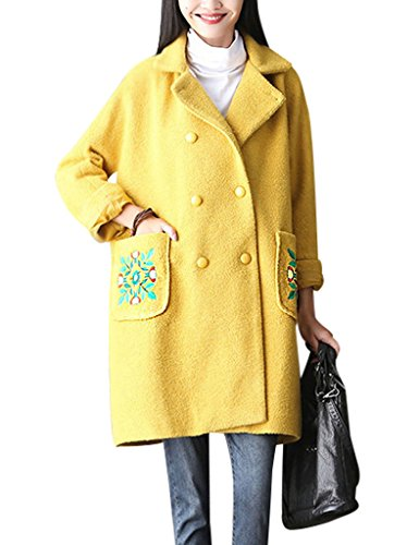 Youlee Damen Bestickt Zweireiher Mantel Plus Größe Wollmantel Gelb