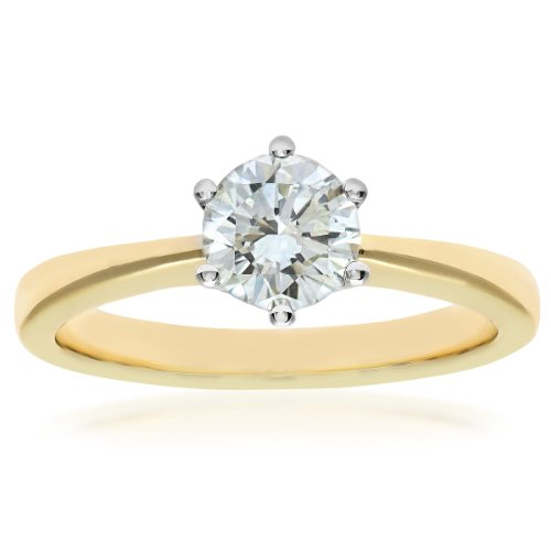 Naava GIA Certified Diamond 18ct Yellow Gold Solitaire Engagement Ring - Size M PR07910Y-G070HVS2-M