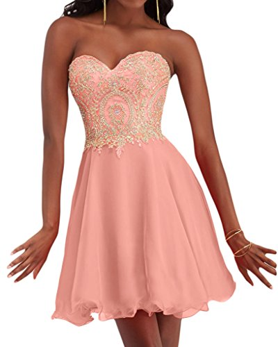 Sunvary A-Line Sweetheart Chiffon Homecoming-Gowns corto da Cocktail Pink