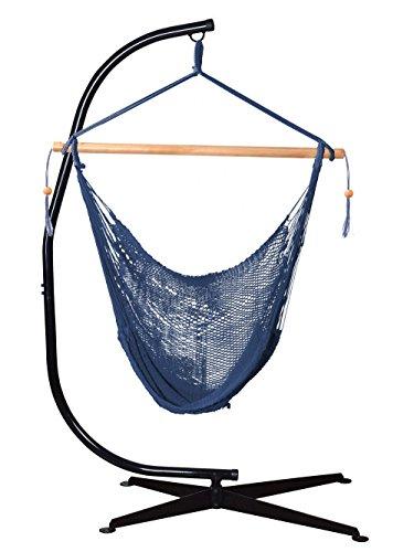 Bliss Seil Hängematte Stuhl mit Stand blau (Patio Hollywoodschaukel Stuhl)