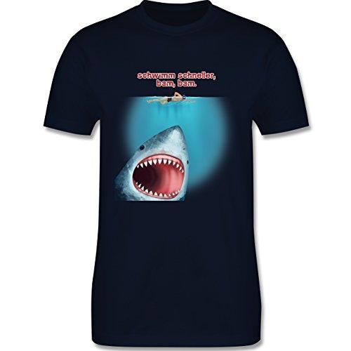 Wassersport - Schwimm schneller, bam, bam. - Herren Premium T-Shirt Navy Blau