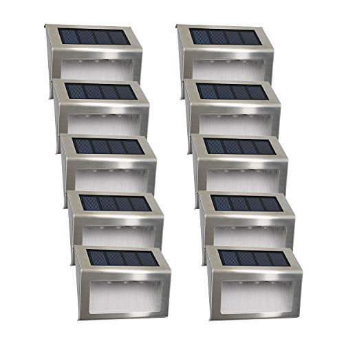 Luces Solares para Exterior Jardín LED Easternstar, Lámparas Solares impermeable IP44 Exterior, Solar Panel del acero inoxidable, 3 LEDs Ilumina a las escaleras, pared, patio y jardín etc. 10 unidades