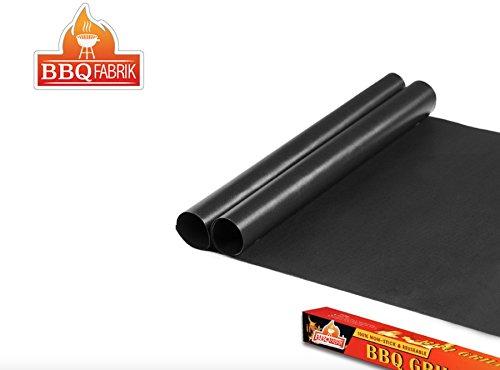 Grillmatte BBQ (2er Set) ideal passend zu BBQ LED   zum Grillen und Backen   aus Silikon mit Teflon Antihaftbeschichtung für bis 300°C   Dauer-Back-Papier extra Groß und langlebig   0.3 mm dick - 40x33 cm   ideal für Gas - Kohle - E-Grill und Backofen geeignet
