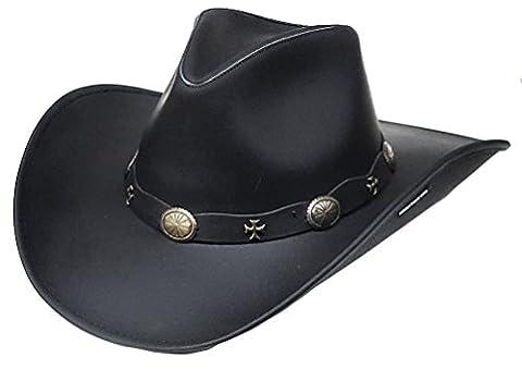 Modestone Unisex Leather Chapeaux Cowboy Wide-brim maltese crosses Black