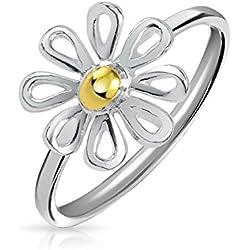 Bling Jewelry Plata chapada en oro de dos tonos de Anillo Flor de Margarita
