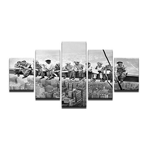 Fbhfbh 5 stücke Giclée Landschaft Leinwand Schwarz Und Weiß Vintage Style New York Wolkenkratzer Mittagessen Arbeiter HD Gedruckt Landschaft Malerei-8 x 14/18/22inch,With frame