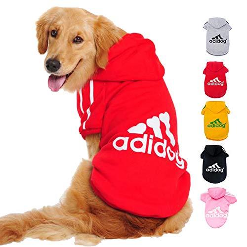 Ducomi Felpa per Cani Adidog con Cappuccio in Morbido Cotone - Vestito Cane Taglia XS - 8XL e Ampia Scelta di Colori - Spedizione dall'Italia (M, Red)