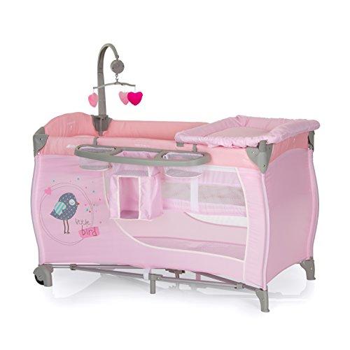 Hauck Babycenter - Cuna de viaje para bebé, incluye elevador para recién nacidos, cambiador, movil, cesta portapañales, ruedas, colchón, bolsa de transporte, Birdie (fucsia gris)