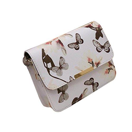 About1988 Damen Blumen Leder Schultertasche Satchel Handtasche Retro Messenger Bag, Damen Kleine Trapez Umhängetasche, Mode Frau Mädchen Handtasche, Kette Tasche (Weiß) - Italienische Leder Schultertasche Satchel
