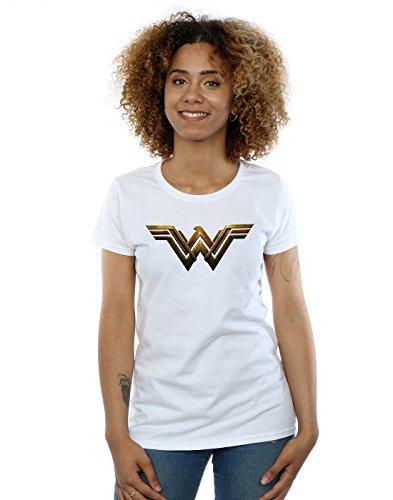 DC Comics Damen Justice League Movie Wonder Woman Emblem T-Shirt Small Weiß - Woman Wonder T-shirts Für Frauen