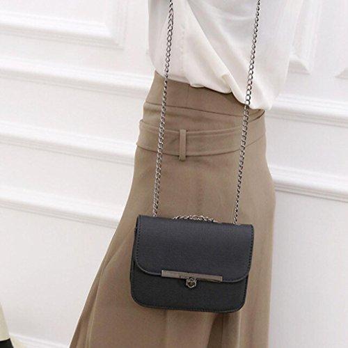Ularma Mode Femmes En cuir Chaîne Sac à Main Traverser le Corps Épaule Messager Sac de Pièce de Monnaie noir