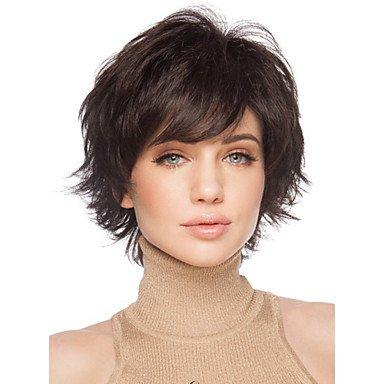 Corto mujer Cabello marrón mujeres pelo falso sintética