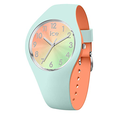 Ice-Watch - ICE duo chic Aqua coral - Grüne Damenuhr mit Silikonarmband - 016981 (Small) (Grün Mint Und Coral)