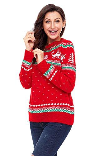 Maglione di Natale maglia maglione maglia inverno per le donne Red