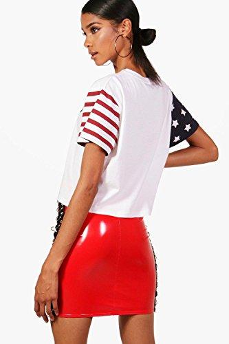 blanc Femmes Anita Nineties Flag Crop T-Shirt Blanc