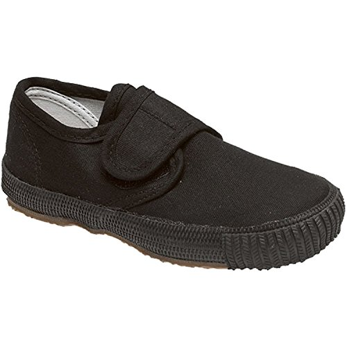 Boys Girls Kids School Pe Pumps Unisex Gym Plimsolls Trainers Velcro Slip On Gusset Shoes Size (UK 9 Infant, Black / Velcro)