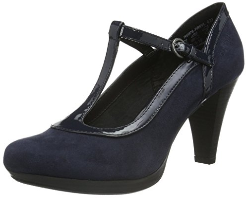 Bugatti W6676PR6VL, Damen T-Spangen Pumps, Blau (Navy 423), 38 EU (5 Damen UK)