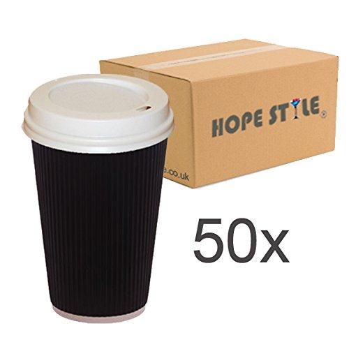 50 x colore: nero crespato Hot asporto, tazze da caffè usa e getta, 12 oz, 16 oz, 8 oz, con coperchi, colore: bianco, 16